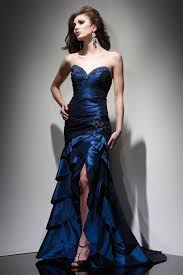 gorgeous navy blue high low strapless prom homecoming dress