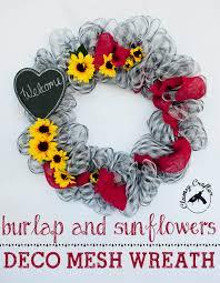 Sunflower Mesh Wreath Burlap Deco Mesh Wreath U2014 Clumsy Crafter