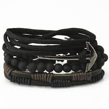anchor leather bracelet man images New fashion bead leather bracelets bangles for women 3 4 pcs 1 jpg