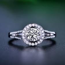 round cut halo diamond engagement ring 14k white gold or yellow