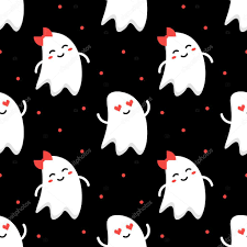 cute funny romantic couple of ghosts halloween seamless pattern