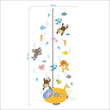 cartoon children room submarine rabbit diving animals wall cartoon children room submarine rabbit diving animals wall stickers height measure for kids room wall decal home nursery decor in wall stickers from home