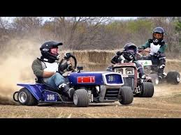 lawnmower racing battle dude perfect youtube
