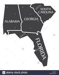 Florida Alabama Map by Alabama Georgia South Carolina Florida Map Labelled Black