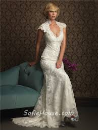 unique mermaid cap sleeve v neck two in one lace wedding dress