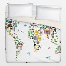 World Map Bedding Duvet Covers By Customizable Nursery Artwork Boomboomprints