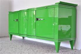 vintage art deco sideboard in poison green original antique
