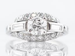 antique engagement ring art deco 84 round brilliant cut diamond