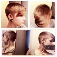 long hair sweeped side fringe shaved pixie blended with long bangs