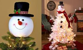 snowman christmas tree frosty snowman top hat christmas tree topper decor