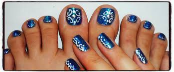 dark blue scrolls toe nail tutorial youtube