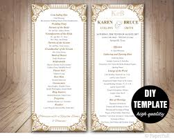 gold wedding programs wedding program template diy wedding program gold wedding