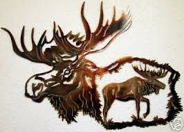 moose head rustic metal art northwoods mountain cabin hunting