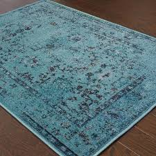 Grey And Turquoise Rug Over Dyed Distressed Traditional Teal Grey Area Rug 7 U002710 X 10 U002710