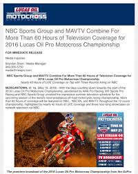 lucas oil pro motocross championship nbc sports and mavtv combine for more than 60 hours for lucas oil