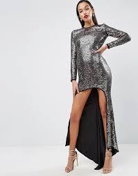 asos asos red carpet embellished sequin maxi dress with high low hem