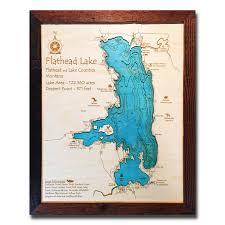 Lake Sakakawea Map Flathead Lake Mt 3 D Nautical Wood Map 16