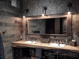 live edge vanity industrial lights wood look tile pebble wall