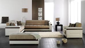 Modern Furniture Living Room Wood Living Room Black Leather Sectional Sofa White Tile Flooring