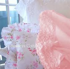 peach pink ruffled shabby cottage chic sheet set