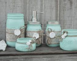 mason jar bathroom set pink sage green shabby chic soap
