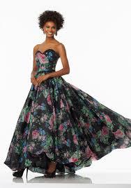 floral printed organza prom dress hi low hemline style 99001