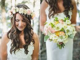 hair wreath bouquet and bohemian hair wreath with lambs ear
