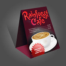 standard table tent card size table tent displays printed in full color with folding score and