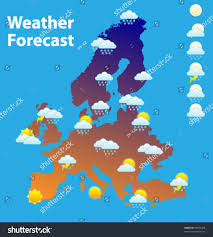 Europe Temperature Map by Weather Forecast Icons Set Europe Map Stock Vector 94095478