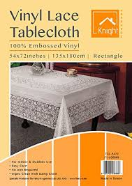 lace vinyl table covers vinyl lace table cloth rectangle 54 x 72 approx amazon co uk