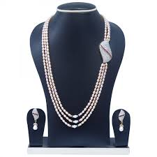 long pearl pendant necklace images 3 lines long pearl necklace with side pendant and bright pink pearls jpg