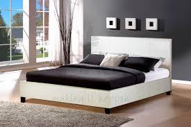 White Leather Bed Frame King Wooden Base White Frame King Platform Single Simple Leather