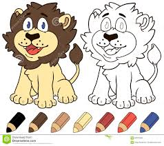 happy cartoon lion vector coloring book illustration stock