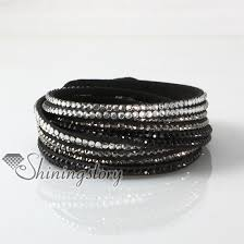 leather crystal bracelet images Leather crystal rhinestone multi layer rainbow color snap wrap jpg