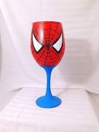 superhero inspired hand painted wine glass