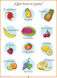 spanish fruits poster spanish free and learn spanish