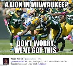 Funny Packers Memes - internet pokes fun at reports that a lion is prowling the