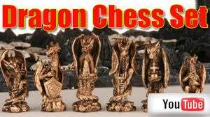 3d dragon chess set with b ful mystical creations chess pieces on