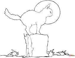 black cat on the stump coloring page free printable coloring pages