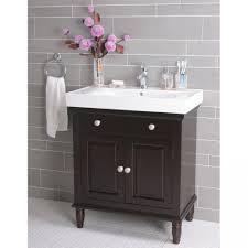 dark brown real wood vanity with stroage drawers washbasin faucet