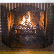 charming single panel glass fireplace screen glass panel single