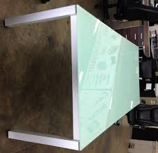 frosted glass table top replacement chiarezza conference table green frosted glass top and white photo