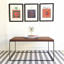 Handmade Living Room Furniture Industrial Chic Coffee Table With Handcrafted Steel Cube Base And