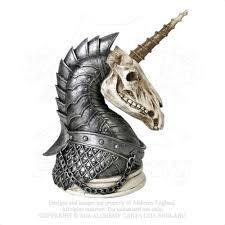 Tattoo Home Decor Armored Unicorn Skull War Horse Figurine Alchemy Gothic