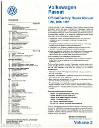 volume 2 only volkswagen passat b4 repair manual 1995 1996 1997