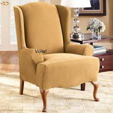 sure fit slipcovers wing chair wing chair slipcover stretch pique antique gold sure fit wingback