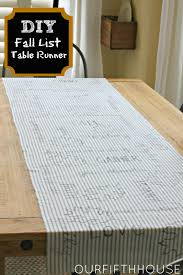 Fall Table Runners by Diy Fall List Table Runner Our Fifth House