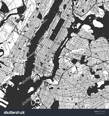 New York City Map New York City Manhattan One Color Stock Vektorgrafik 511867987