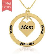 Necklace With Kids Names 24k Gold Plated Heart Mom Kids Names Necklace Rsnamenecklace