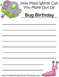 bugs birthday butterfly snail how many words can